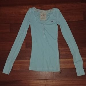 Hollister light blue long sleeve t shirt NWOT